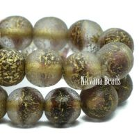 6mm Round Druk Transparent Glass and Eggplant with a Gold Wash and An Etched Finish