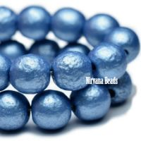 6mm Round Druk Metallic Blue with Etched Finish
