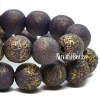 6mm Round Druk Indigo with An Etched Finish and a Gold Wash