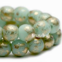 6mm Round Druk Mint with Gold Finish