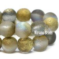 6mm Round Druk Grey with An Etched Finish and Gold Luster