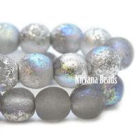 6mm Round Druk Grey with a Silver Rainbow Finish