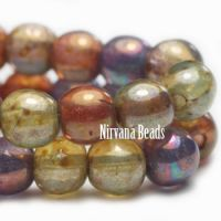 6mm Round Druk Grape, sage, and Burnt Orange