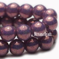 6mm Round Druk Purple Pansy with Metallic Finish