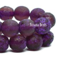 6mm Round Druk Purple with Purple Wash and Etched Finish