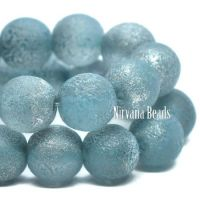 6mm Round Druk Baby Blue with An Etched Finish and a Silver Metallic Finish