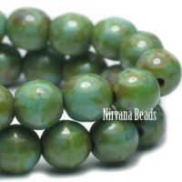 6mm Round Druk Beads GN. Turquoise and Picasso