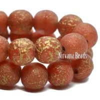 6mm Round Druk Red with An Etched Finish and a Gold Wash