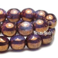 6mm Round Druk Purple Pansy and Grape with Bronze Finish