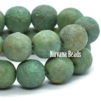 6mm Round Druk Tea Green and Yellow Ivory with Picasso and Etched Finish