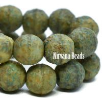 6mm Round Druk Tea Green and Yellow with Picasso and Etched Finish