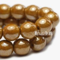 6mm Round Druk Yellow Gold with Luster Finish