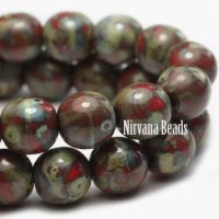 6mm Round Druk Red with Picasso Finish