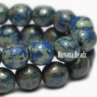 6mm Round Druk Blue with Picasso Finish