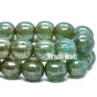 6mm Round Druk Blue Green with Picasso Finish