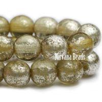 6mm Round Druk Pale Olive with Mercury Finish