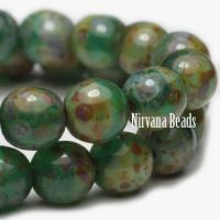 6mm Round Druk Green with Picasso Finish