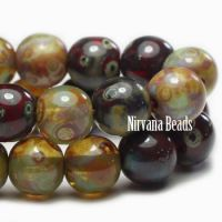 6mm Round Druk Sage and Red Oxide Mix