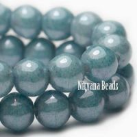 8mm Round Druk Slate Blue