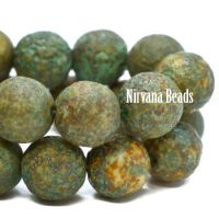 8mm Round Druk Tea Green and Yellow Ivory with Picasso and Etched Finish