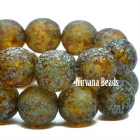 8mm Round Druk Amber with Picasso, Turquoise Wash and Etched Finish