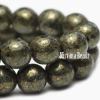 8mm Round Druk Black with Gold