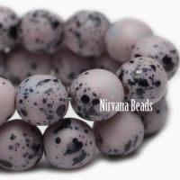8mm Round Druk Pale Thistle with Speckled Black Finish