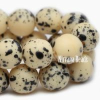 8mm Round Druk Beige with Speckled Black