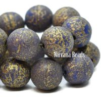 8mm Round Druk Indigo with An Etched Finish and a Gold Wash