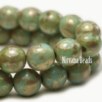8mm Round Druk Tea Green with Picasso Finish