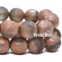 8mm Round Druk Grey with An Etched and Copper Finish