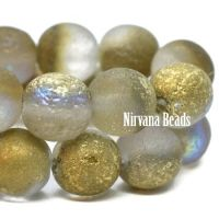 8mm Round Druk Grey with An Etched Finish and Gold Luster