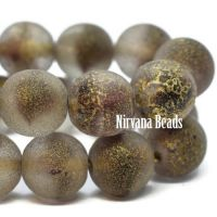 8mm Round Druk Eggplant and Grey with An Etched and Gold Finish
