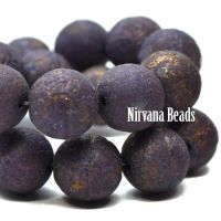 8mm Round Druk Purple with An Etched and Mercury Finish