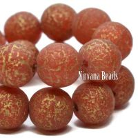 8mm Round Druk Red with An Etched Finish and a Gold Wash
