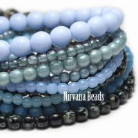 MIX Loose Strands Round Druk Beads - Blue, black, gray