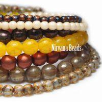 MIX Loose Strands Round Druk Beads - Amber, brown, white, yellow, orange