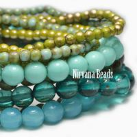 MIX Loose Strands Round Druk Beads - Aqua, green, blue aqua
