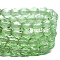 3mm Faceted Round Firepolished Bead Transparent Green