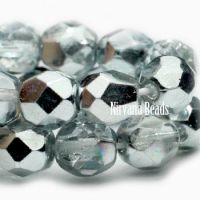 3mm Faceted Round Firepolished Bead Medium Aquamarine with Mirrored Luster