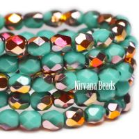 3mm Faceted Round Firepolished Bead Tiffany Green with Crimson-gold AB Finish