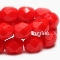 3mm Faceted Round Firepolished Bead Scarlet Red