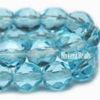 3mm Faceted Round Firepolished Bead Medium Sky Blue