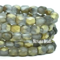 3mm Faceted Round Firepolished Bead Grey with An Etched and AB Finish
