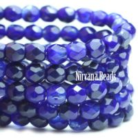 3mm Faceted Round Fire Polished Beads - Indigo
