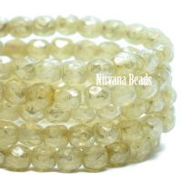 3mm Faceted Round Firepolished Bead Yellow Ivory with a Metallic Picasso Finish