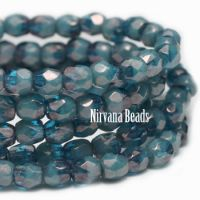 3mm Faceted Round Firepolished Bead Pacific Blue with Luster Finish