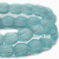 3mm Faceted Round Firepolished Bead Matte Powder Blue