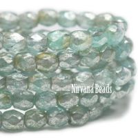 3mm Faceted Round Firepolished Bead Tea Green with Mercury Finish
