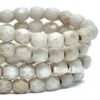 3mm Faceted Round Firepolished Bead Off White with Etched and Gold Finish